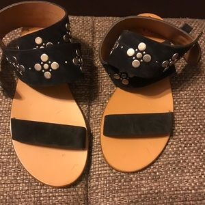 Frye Beaded  Gladiator Flat Sandals Black 7.5